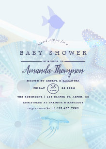 Ocean theme baby shower invitations zazzle elegant under the sea ocean themed boy baby shower invitation filmwisefo