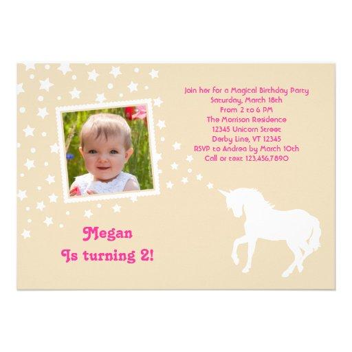 Elegant Unicorn Birthday Party Photo Invitation