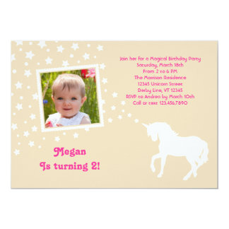 Elegant Unicorn Birthday Party Photo Invitation