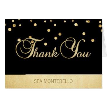 Professional Business Elegant Unique Black Gold Foil Business Thank You Card