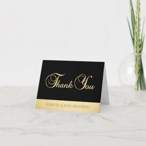 Elegant Unique Black Gold Foil Wedding Thank You