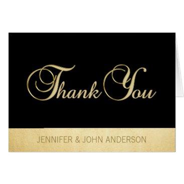 Professional Business Elegant Unique Black Gold Foil Wedding Thank You Card