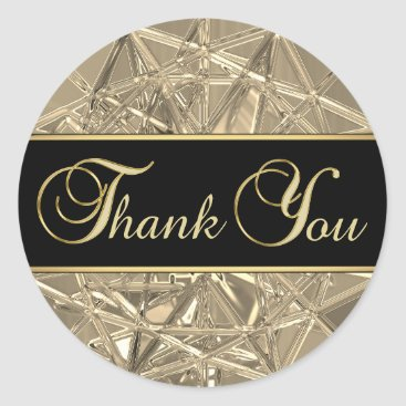 Professional Business Elegant Unique Black Gold Metallic Glass Thank You Classic Round Sticker
