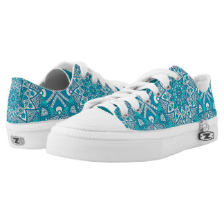 Elegant unique floral aqua Turquoise Boho pattern Low-Top Sneakers