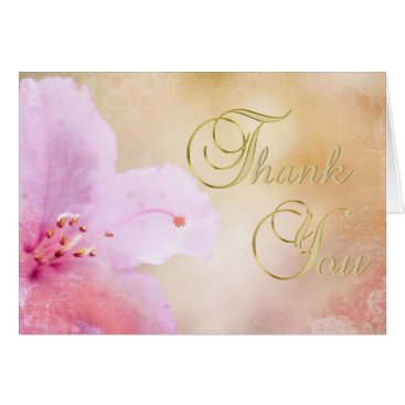 Professional Business Elegant Unique Floral Pink Azalea Thank You Blank Card