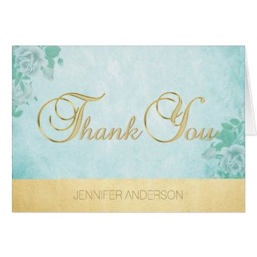 Professional Business Elegant Unique Mint Watercolor Gold Foil Thank You Card