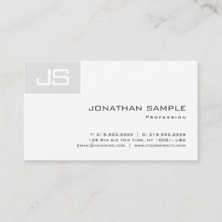 Elegant Unique Monogram Smart Modern Plain Luxury Business Card