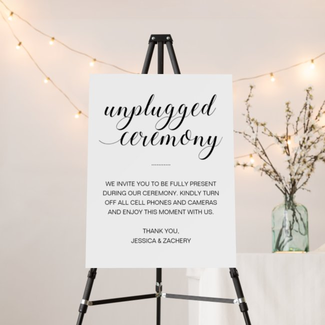 Elegant Unplugged Wedding Ceremony No Phones Foam Board