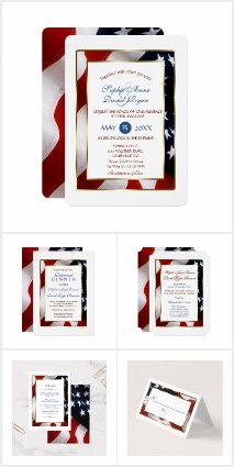 Elegant USA Flag Gold Frame Wedding Collection