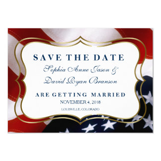 Elegant USA flag Wedding Save The Date Card