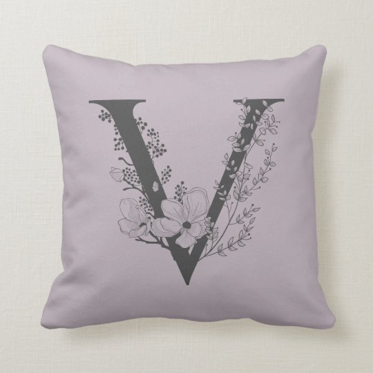 Elegant V Boho Floral Monogram Initial Lilac Gray Throw Pillow