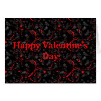 elegant valentine note card in red and black