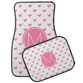 Elegant Valentine pink white tiny heart pattern Car Mat