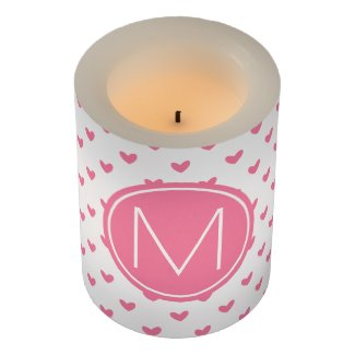 Elegant Valentine pink white tiny heart pattern Flameless Candle