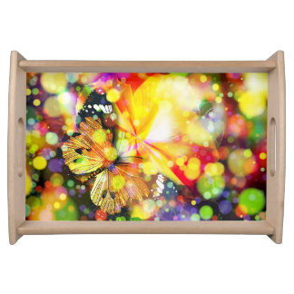 Elegant Vanity Tray with colorful butterfly design