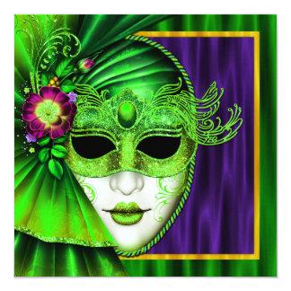 Elegant Venetian Mask Mardi Gras Wedding 5.25x5.25 Square Paper Invitation Card