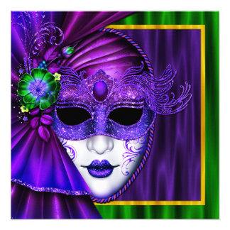 Elegant Venetian Mask Mardi Gras Wedding Custom Announcements