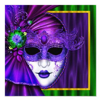 "Elegant Venetian Mask Mardi Gras Wedding 5.25"" Square Invitation Card"