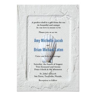 Elegant Venus Clam Beach Seashore Wedding Announcement
