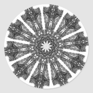 Elegant Victorian Black White Parasol Kaleidoscope Classic Round Sticker
