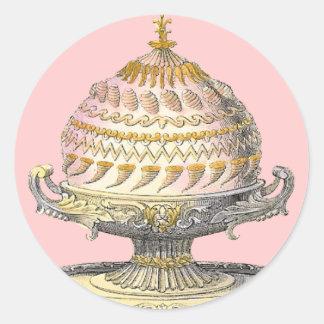 Elegant Victorian Cake Baker's Cornucopia Gateau Round Stickers