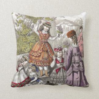 Elegant Victorian Children in a Park Throw Pillow