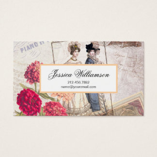 Elegant Victorian Fashion Ephemera Collage Business Card
