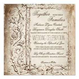 Elegant Victorian Frame Rustic Wedding Invitations