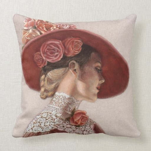Victorian Lady Pillows : Elegant Victorian Lady Art Floral Roses Hat Pillow Zazzle