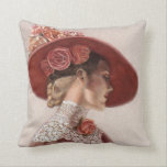 "Elegant Victorian Lady Art Floral Roses Hat Pillow<br><div class=""desc"">Romantic roses elegant art decor pillow. Victorian Lady Portrait Painting,  beautiful woman,  fashion lace,  lovely vintage style rose floral hat. This throw pillow is reproduced from the pastel painting &quot;Victorian Lady in Rose Hat&quot; by Sue Halstenberg.</div>"
