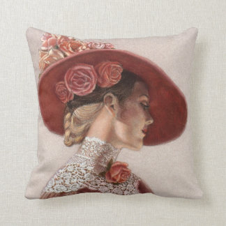 Elegant Victorian Lady Art Floral Roses Hat Pillow