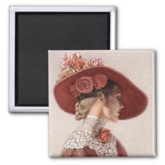 Elegant Victorian Lady Fine Art Vintage Rose Hat 2 Inch Square Magnet