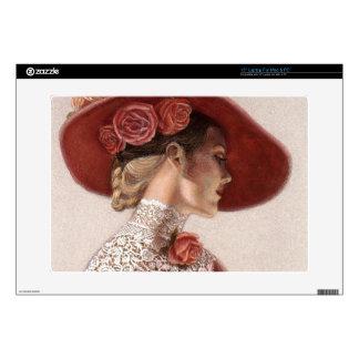 """Elegant Victorian Lady Fine Art Vintage Rose Hat Decal For 15"""" Laptop"""