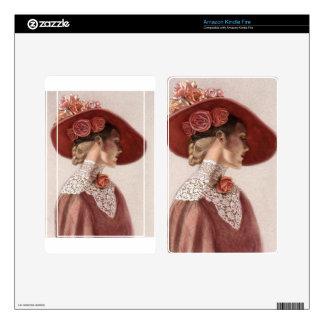 Elegant Victorian Lady Fine Art Vintage Rose Hat Decals For Kindle Fire