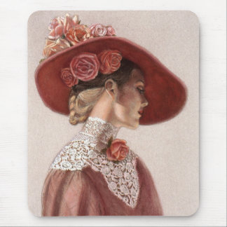 Elegant Victorian Lady Fine Art Vintage Rose Hat Mouse Pad