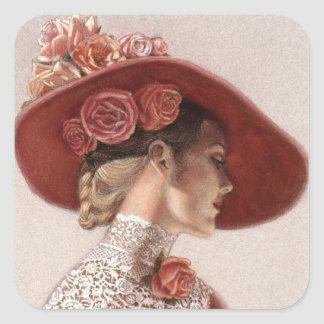 Elegant Victorian Lady Fine Art Vintage Rose Hat Square Sticker