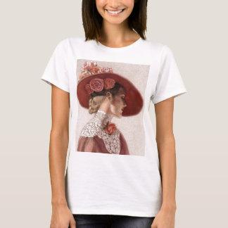 Elegant Victorian Lady Fine Art Vintage Rose Hat T-Shirt