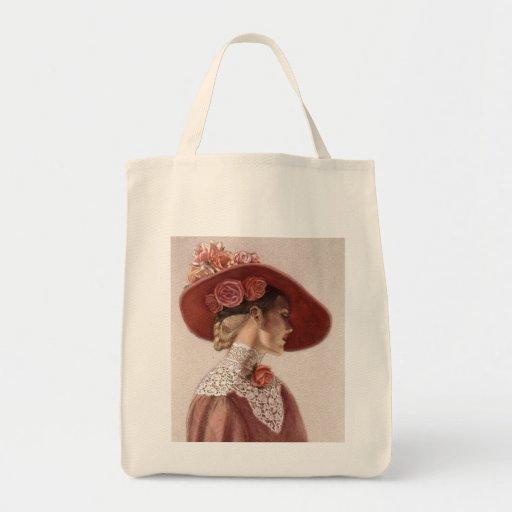 Elegant Victorian Lady Fine Art Vintage Rose Hat Tote Bag