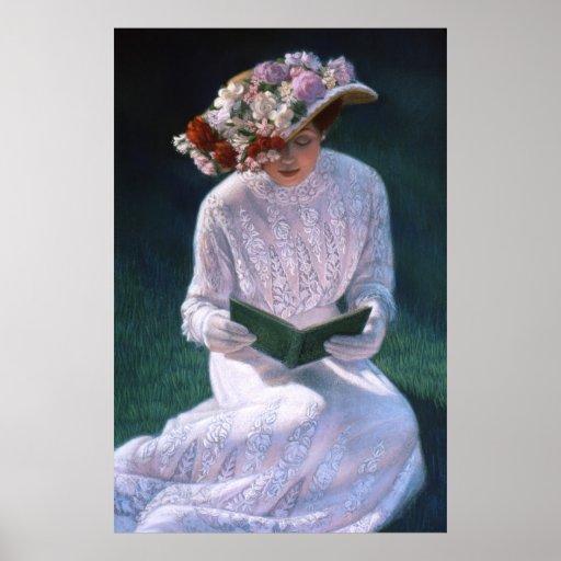 Elegant Victorian Lady, reading, decor art poster