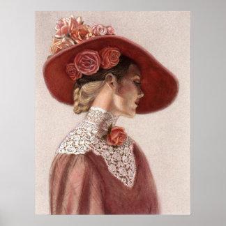 Elegant Victorian Lady, Rose Hat Decor Art Poster