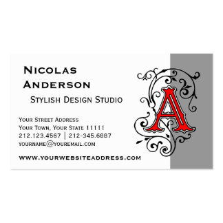Elegant Victorian Letter A Monogram Business Card Template