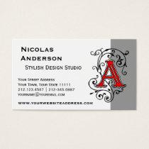 Elegant Victorian Letter A Monogram Business Card