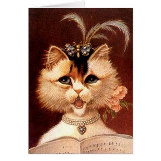ELEGANT VICTORIAN PARLOR CAT w/ MUSIC ~ CARD