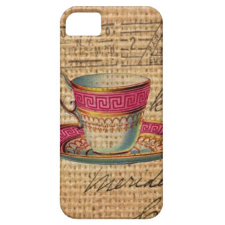 elegant victorian pink teacup on burlap background iPhone SE/5/5s case