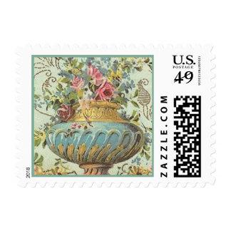 Elegant Victorian Rose Vase Postage