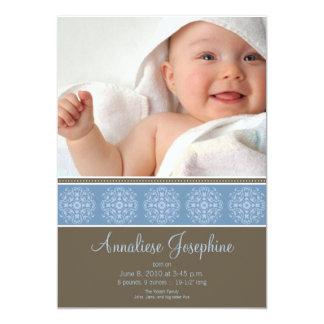 Elegant Victorian Stamp Birth Announcement: blue 5x7 Paper Invitation Card