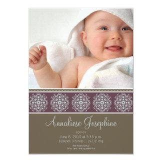 Elegant Victorian Stamp Birth Announcement: purple 5x7 Paper Invitation Card