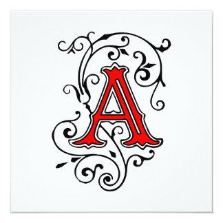 Elegant Victorian Style Letter A Monongram Personalized Invitations