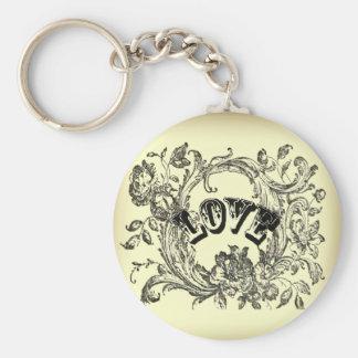 elegant victorian swirls flourish vintage wedding basic round button keychain