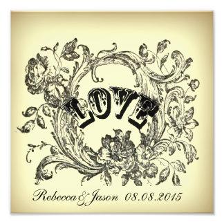 elegant victorian swirls flourish vintage wedding photo print